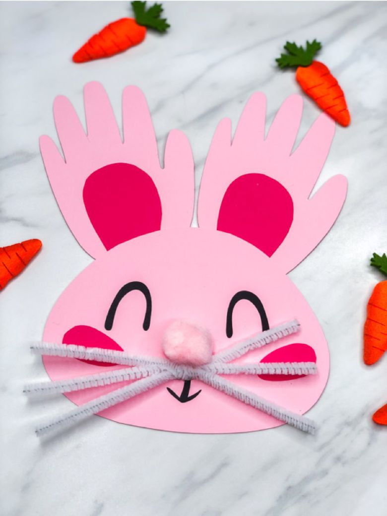 Easter crafts for toddlers - handprint bunny craft