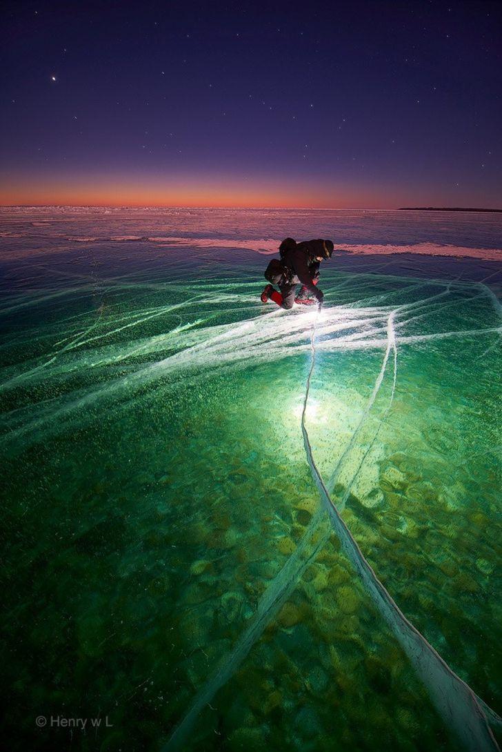 Man with Flashlight on Ice, Ice Photography