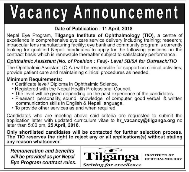 Ophthalmic Assistant vacancy TIO