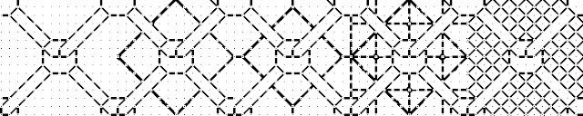 Image of a geometric pattern with increasingly dense background patterns from left to right