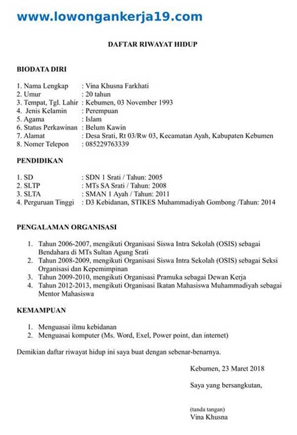 Contoh Daftar Riwayat Hidup Bidan Fresh Graduate