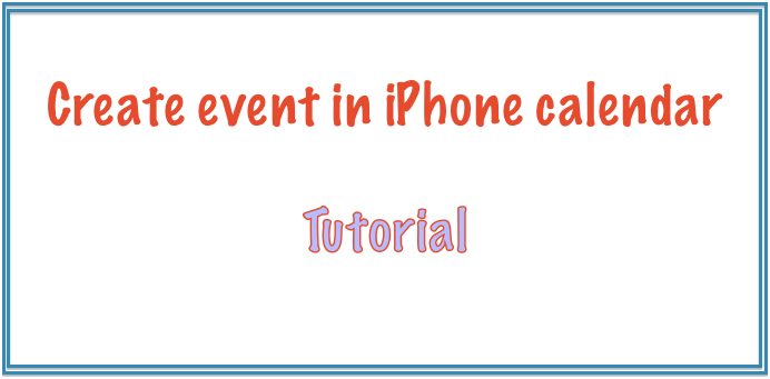 Programmatically create event in iPhone calendar in IOS sdk