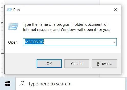 Windows لا يستجيب Msconfig