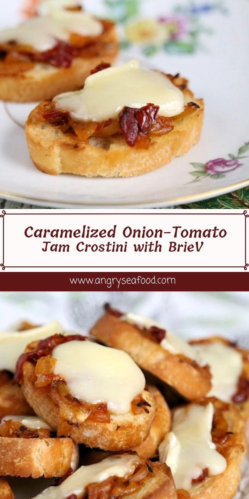Caramelized Onion-Tomato Jam Crostini with Brie