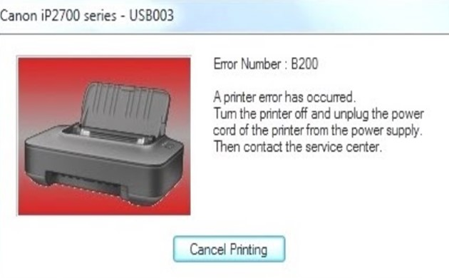 Error b200 Canon iP2770