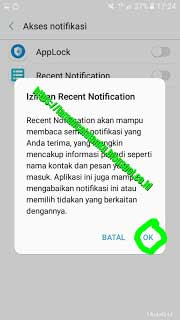 Konfirmasi izin recent notification