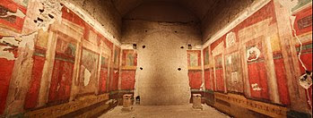 Frescoes adorning the walls of what is accepted to have been the villa Augustus built for himself on Rome's Palatine Hill