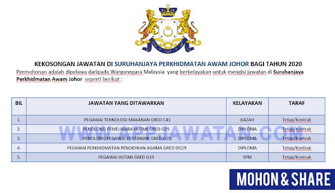 Jawatan Kosong Terkini di Suruhanjaya Perkhidmatan Awam Johor.
