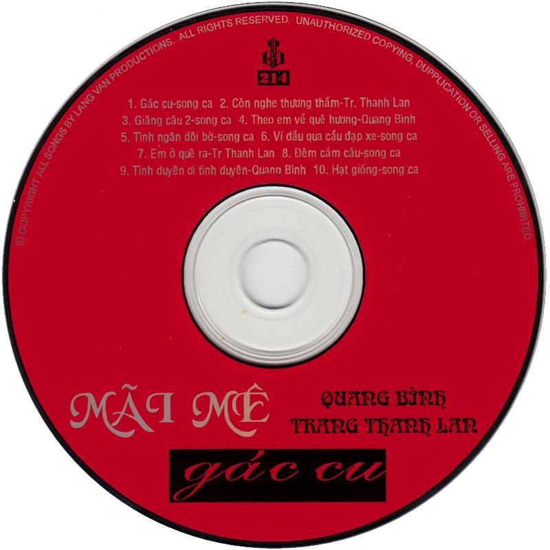 Làng Văn CD214 - Quang Bình, Trang Thanh Lan - Mải Mê Gác Cu (NRG) + bìa scan mới