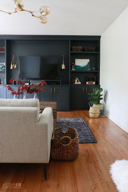 behr marquee satin black on built-in bookcases