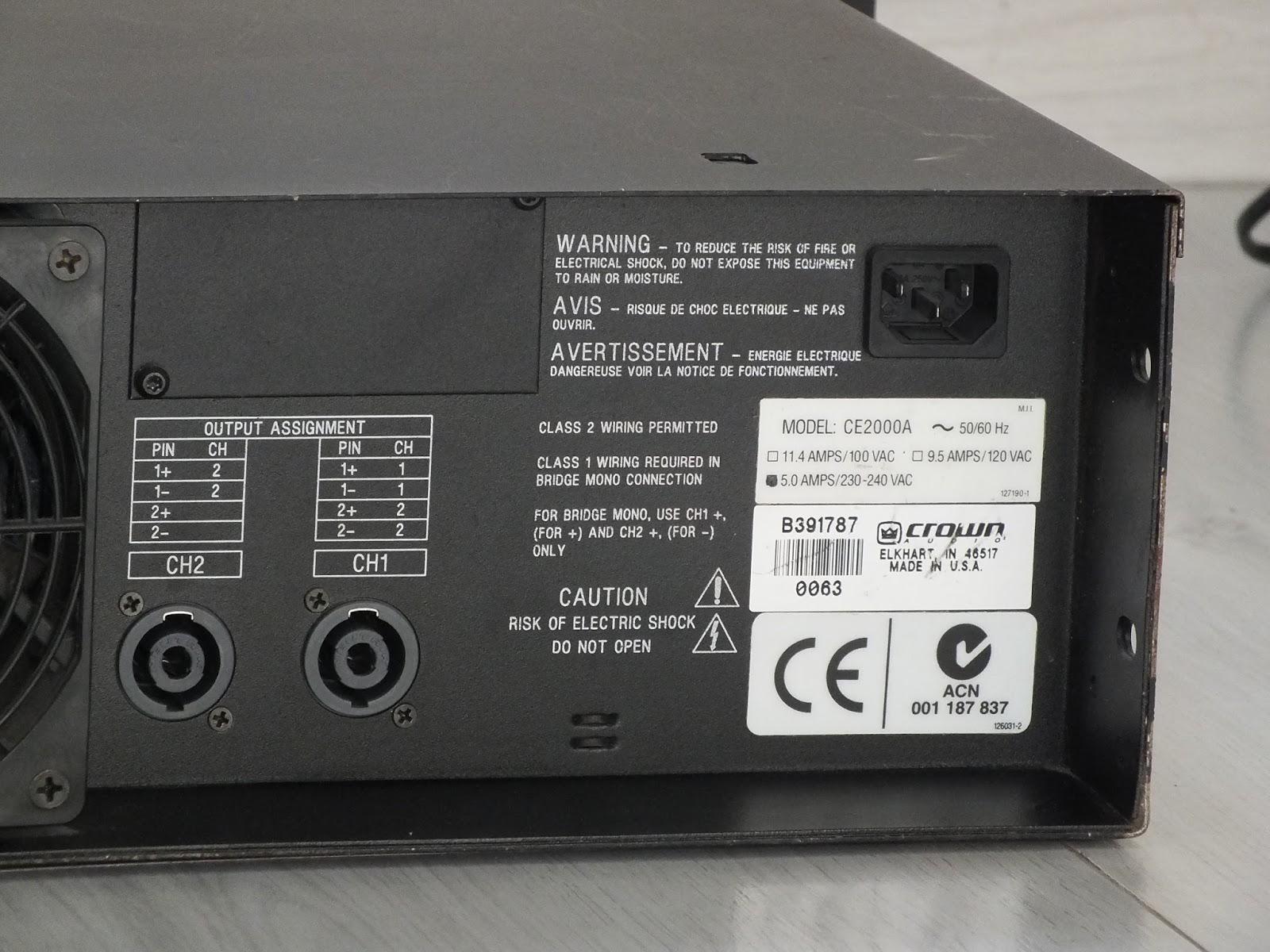 Crown Ce 2000 Amplifier Manual