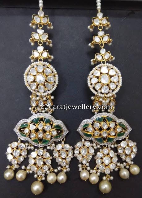 Dazzling Polki Diamond Long Earrings