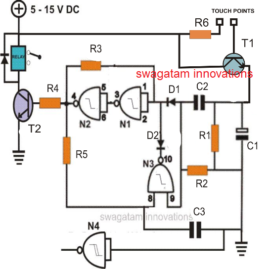Simple Touch Sensitive ON OF Relay Switch