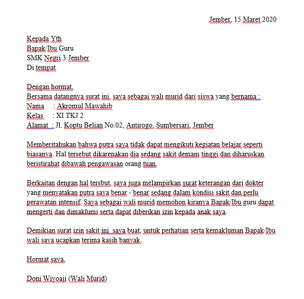 Contoh Surat Izin Sakit Sekolah SMK