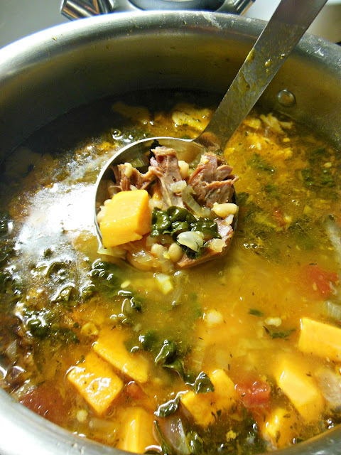 Easy to make Ham and Bean Soup with Sweet Potatoes and Kale.