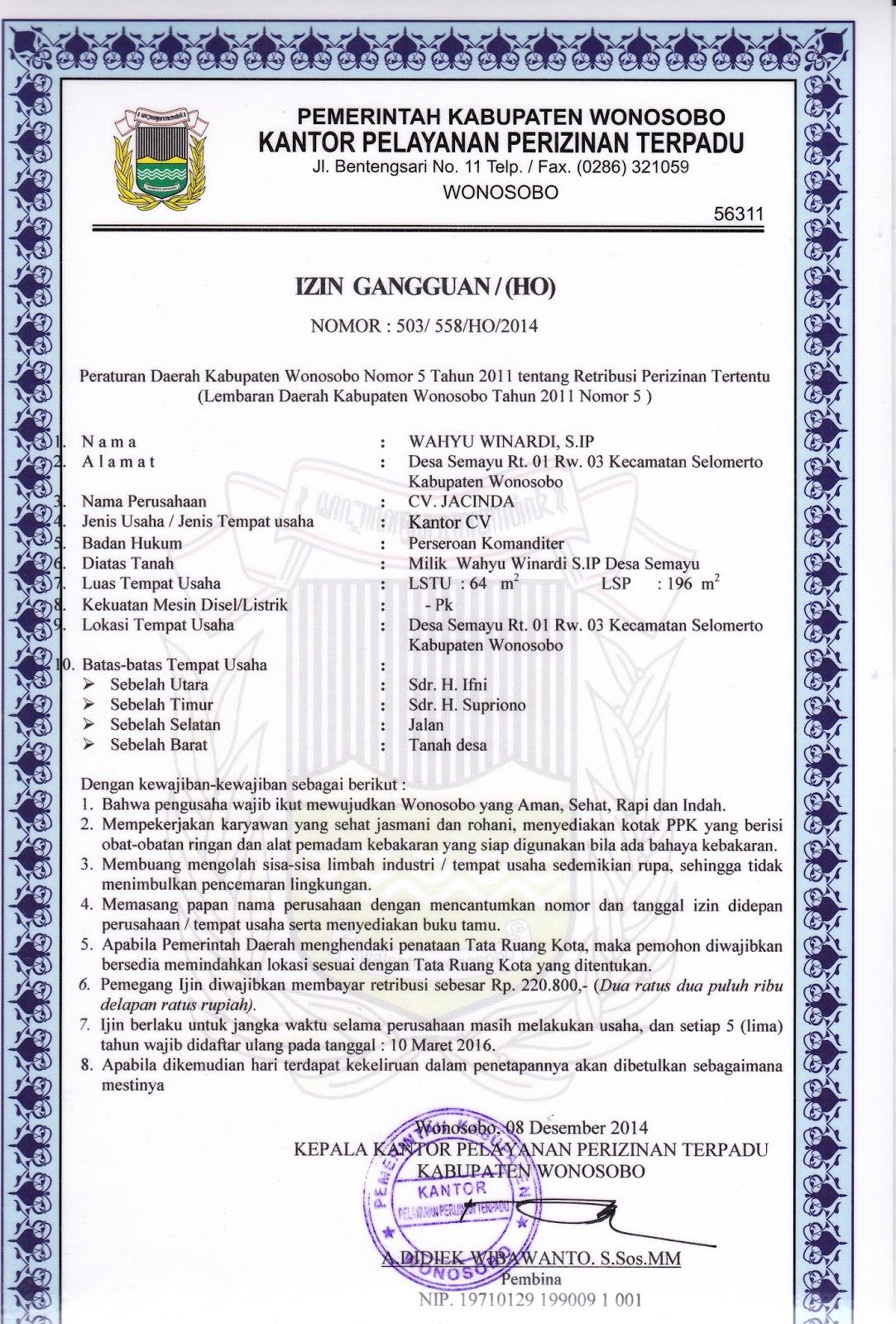 9 Contoh Surat Izin Usaha Situ Siup Npwp Nrp Nrb Amdal Imb