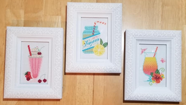 Completed Retro Summer Drinks Cross Stitch