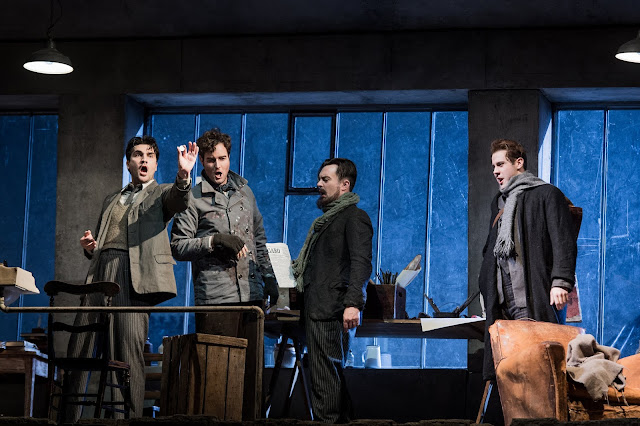 Puccini: La bohème - Jonathan Tetelman, Nicholas Lester, David Soar, Bozidar Smiljanic - English National Opera (Photo Robert Workman)