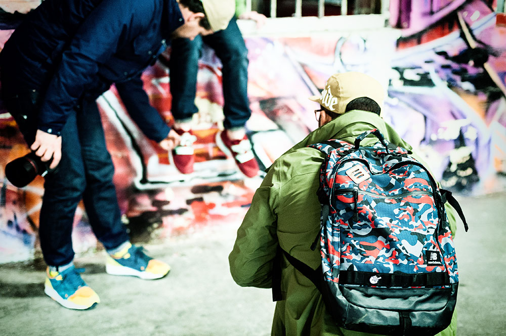Thom & Timmy shooting Andy in his Sneaker Freaker X Packer X Puma Blaze of Glory 'Bloodbath' Sneakers by Tom Cunningham