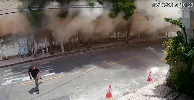 Novo vídeo mostra prédio desabar sobre pessoas em Fortaleza