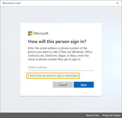 Sign in Akun Baru Windows 10