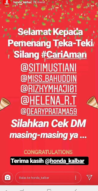 Follow Instagram Honda_Kalbar, Ikuti Kuisnya, Menangkan Hadiahnya