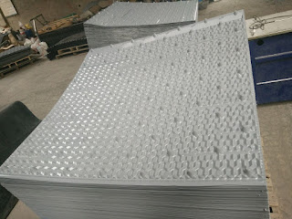 Gray Shinwa Cooling Tower fill is ready for shipment