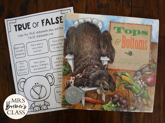 Tops and Bottoms book study unit Common Core literacy companion activities for K-2