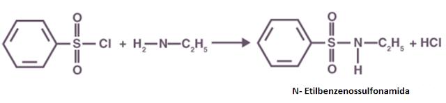 reação do cloreto de benzenossulfonila amina primária