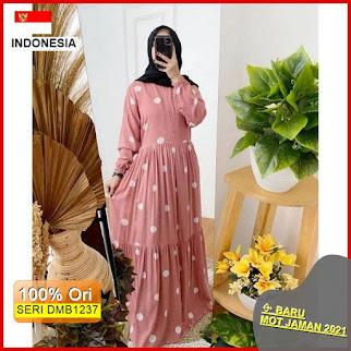 DMB1237 DRESS WANITA 1KG MUAT 4PCS GEISHA HOMEY DRESS POLKA RAYON GUARDIAN VISCOSE PREMIUM HITS SELEBGRAM FASHION BARU 2021