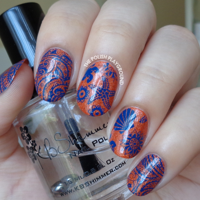 Orange Holo and Dark Blue Beach Themed Stamping Nail Art