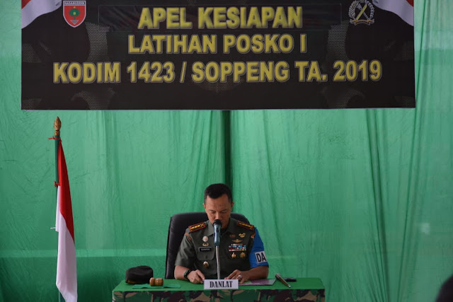 Tim Wasev Kodam XIV/Hsn dan Bupati Soppeng Pantau Langsung Pelaksanaan Latihan Posko I Kodim 1423/Soppeng