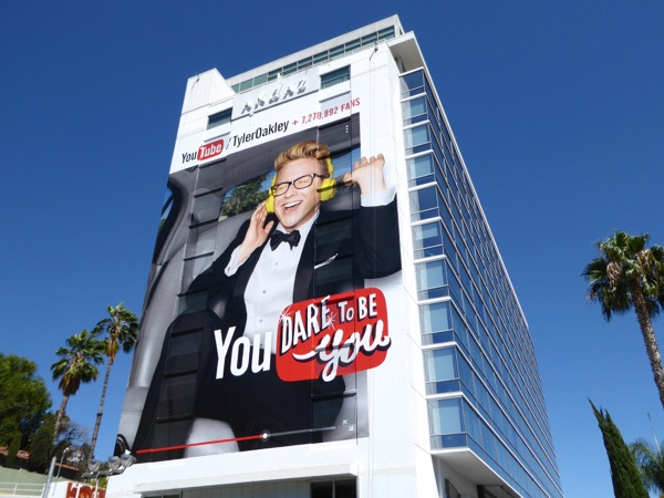 Giant Tyler Oakley YouTube dare to be you billboard