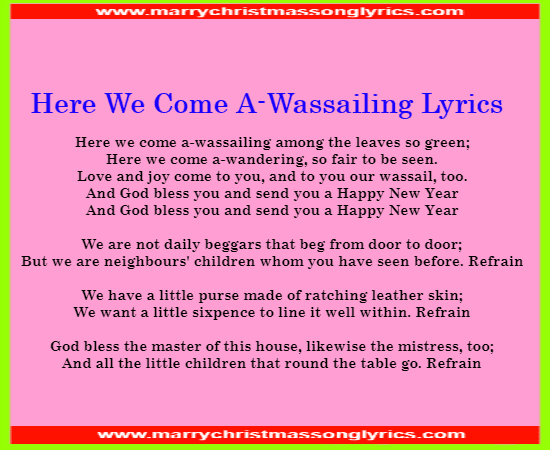 Here We Come A-Wassailing Lyrics