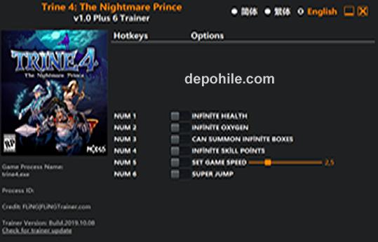 Trine 4 The Nightmare Prince (PC) Oksijen, Can +6 Trainer Hilesi