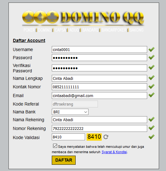 Cara Daftar di DominoQQ