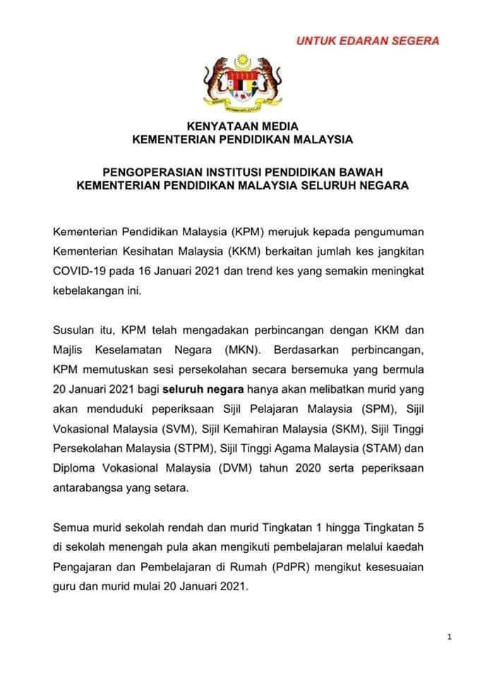 Sesi Persekolahan Pada 20 Januari 2021 Di Tangguhkan