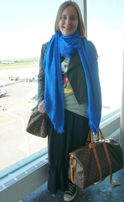 Comfortable flying style flight to Paris Louis Vuitton shawl luggage maxi skirt mickey tee leather jacket | away from blue