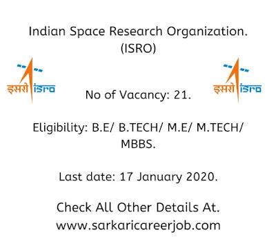 ISRO Vacancies 2020 latest government job vacancies 2020.