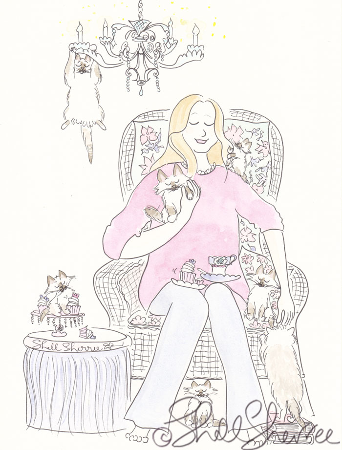 Kitty Cat High Tea Fashion and Fluffballs illustration © Shell Sherree
