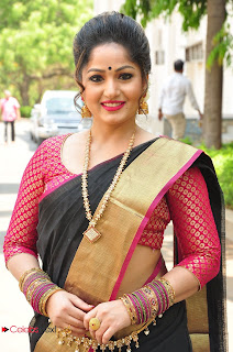 Actress Madhavi Latha Stills in Saree at Anushtanam Movie Audio Launch 0001