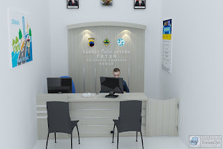 Produsen Meja Pelayanan Dan Backdrop Dinding Plus Huruf Timbul Dan Logo
