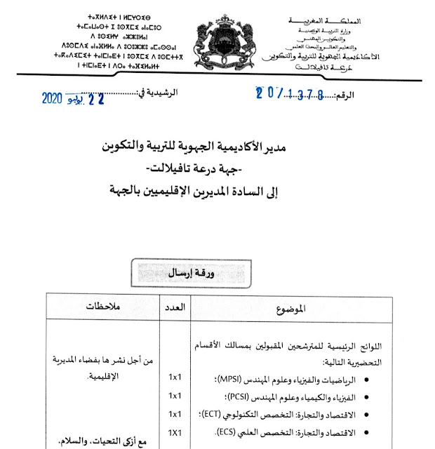 اللوائح الرئيسية للمترشحين المقبولين في ي الأقسام التحضيرية الخاصة بجهة درعة تافيلالت