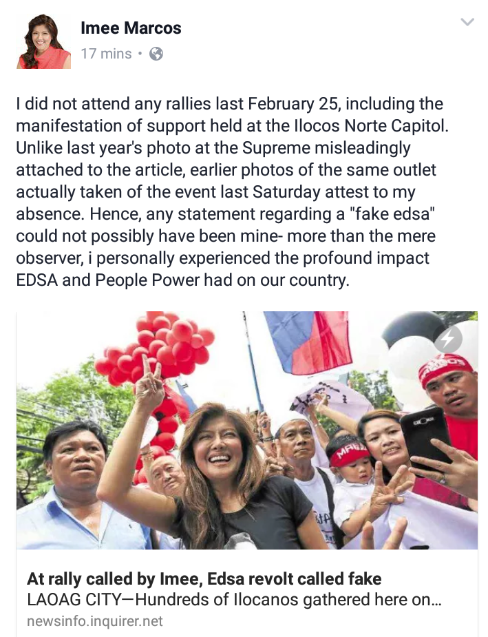 Imee Marcos denounces Inquirer article about 'fake EDSA' claims