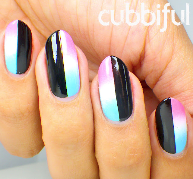 Black & Gradient Nail Art