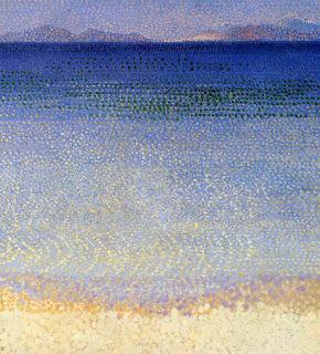 Fused Glass Beach Ocean Sea Painting Pointillism Dots Sharon Warren Glass sharonwarrenglass flutterbybutterfly