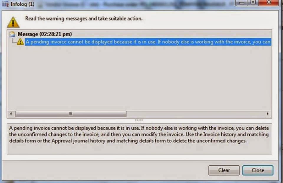 Ax 2012 Error Resolved-One or more pending invoices cannot be