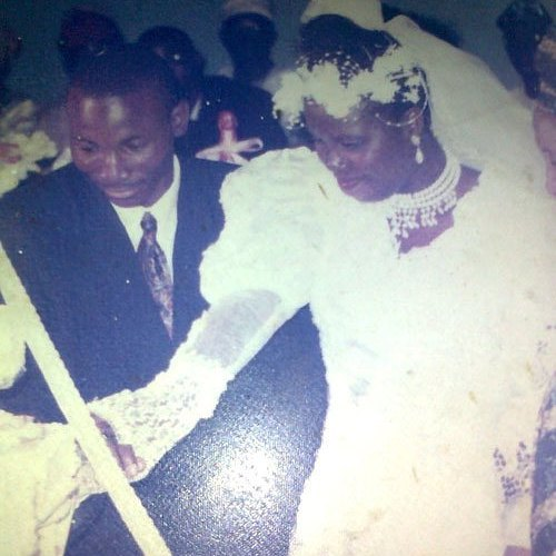 Folashade and I cutting the wedding cake June 3rd 1995 today in history 22 years ago