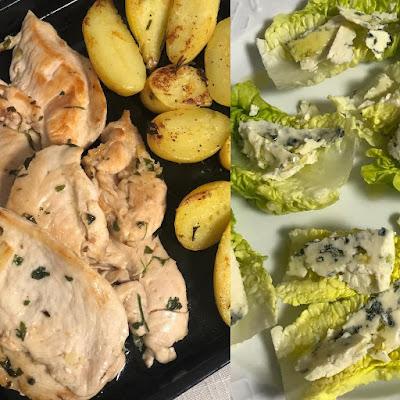 Pollo-patatas-lechuga-queso-azul