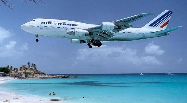 Airbus Air France à Maho Beach vers l'aéroport SXM